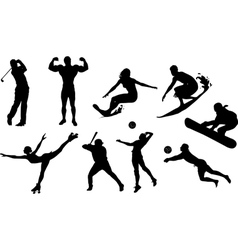 Sportive people black icon set vector image vector image