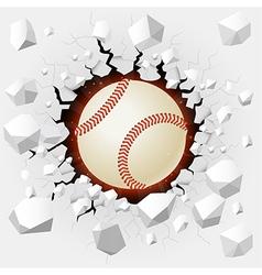 Baseball and with wall damage vector image