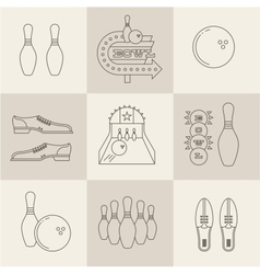 Bowling icons vector image vector image