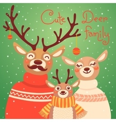 Christmas reindeer family Cute card with deer is vector image vector image