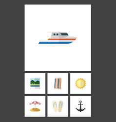 Flat icon season set of boat wiper reminders and vector