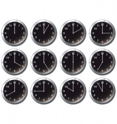 office clock black all times vector image