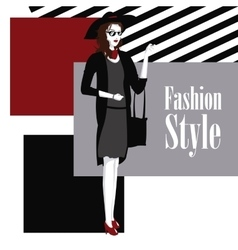 Poster wo with dress and purse fashion style vector