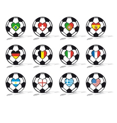 soccer ball with heart vector image vector image