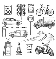 Traffic hand drawn icons set vector image