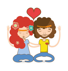 Couple relaxing and meditation icon vector