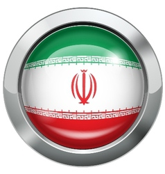 Iran flag metal button vector image vector image
