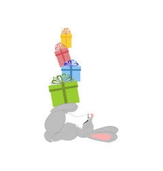 rabbit with presents vector image vector image