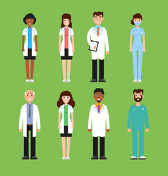 team doctor surgeon nurse set of diffrent vector image
