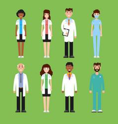 team doctor surgeon nurse set of diffrent vector image vector image