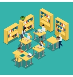 Education Middle School Classroom Isometric Banner vector image