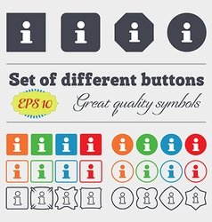 Information Info icon sign Big set of colorful vector image