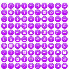 100 war crimes icons set purple vector