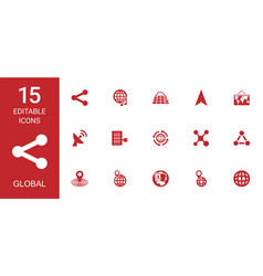 15 global icons vector image
