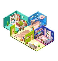 Apartment rooms cross section vector