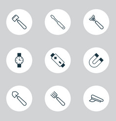 apparatus icons set with battery screwdriver vector image