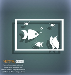 Aquarium Fish in water icon sign On the blue-green vector image