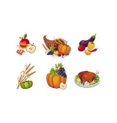 autumn symbols collection of thanksgiving day vector image
