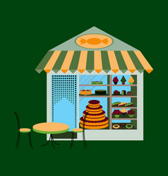 Bakery flat shop with vector