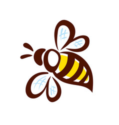 Bee icon pretty bee with honeycomb logo image vector