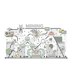 bitcoin mining concept in flat vector image