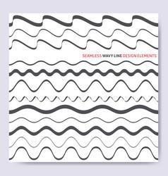black seamless wavy line design elements vector image
