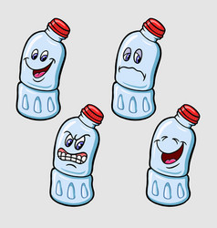 Bottle cartoon character expression vector