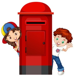Boy and girl behind the post box vector