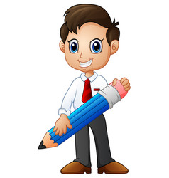 cartoon businessman holding a pencil vector image