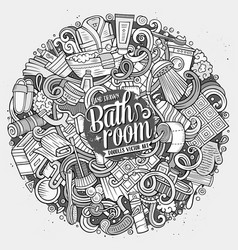 Cartoon cute doodles bathroom vector