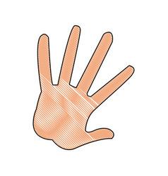 Cartoon hand showing the five fingers vector