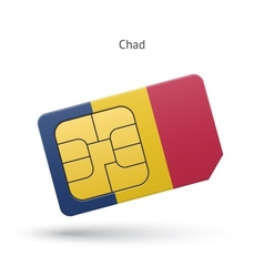 Chad mobile phone sim card with flag vector image