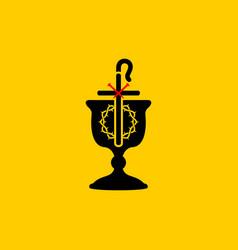 Christian symbols communion bowl vector