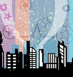 City celebrations with retro background vector image