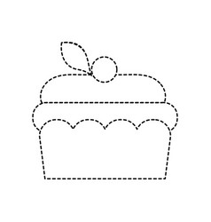 Dotted shape delicious cake sweet dessert food vector