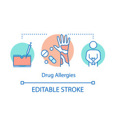 Drugs allergy concept icon allergic reaction to vector
