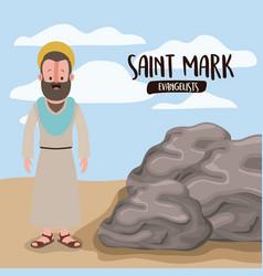 Evangelist saint mark in scene in desert next vector