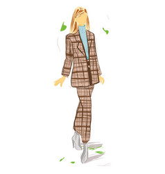 fashion woman with brown suit stylish illus vector image