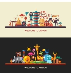 Flat design Africa Japan travel banners set vector image vector image