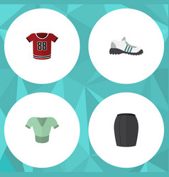 Flat icon dress set of casual stylish apparel vector