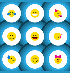 Flat icon gesture set of joy grin descant and vector