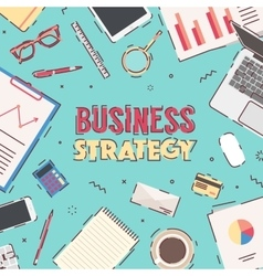 Flat workspace Business Strategy Marketing vector