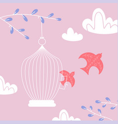 freedom concept valentine s day card birds out of vector image