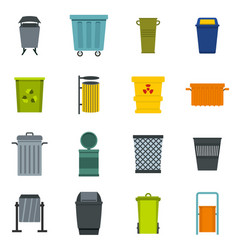 Garbage container icons set in flat style vector