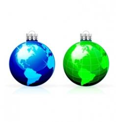 globe Christmas balls vector image