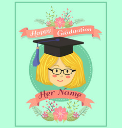 Happy graduation mint green girl greeting card vector