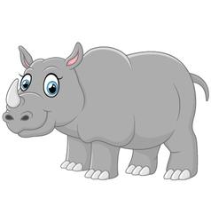 Happy rhino cartoon vector