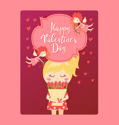 Happy valentine day card cute girl with flowers vector