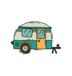Icon of camping trailer in doodle style vector