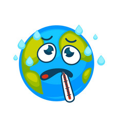 Ill earth with thermometer in mouth and rain drops vector